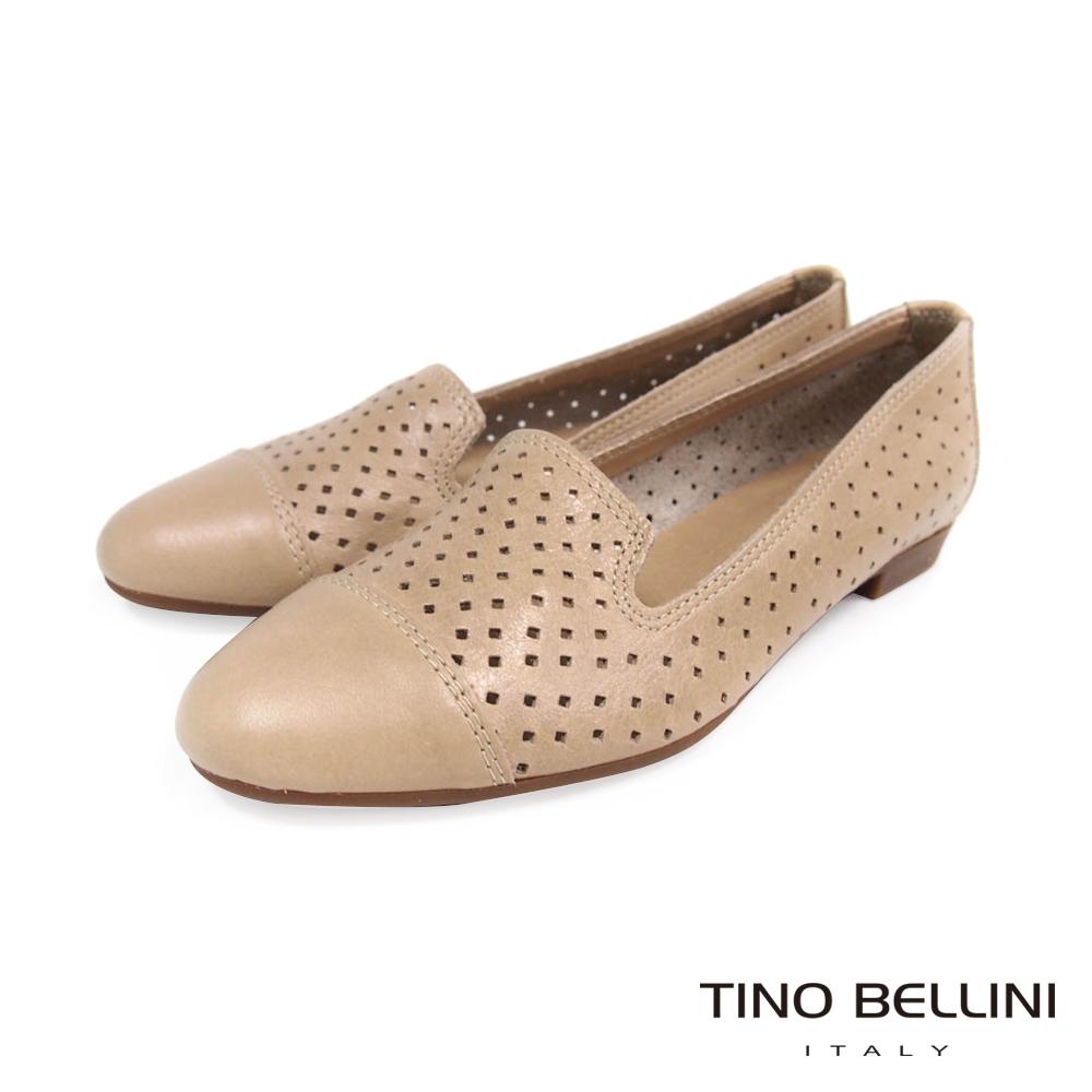 Tino Bellini 義大利經典鏤空真皮樂福鞋_粉膚