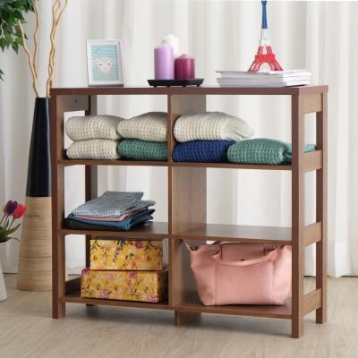 EASY HOME 三層六格加寬隔間展示收納櫃-胡桃色(90x29.6x80cm)-DIY