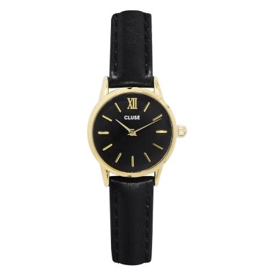 CLUSE荷蘭精品手錶 VEDETTE金色系列 黑色錶盤/黑色皮革錶帶24mm