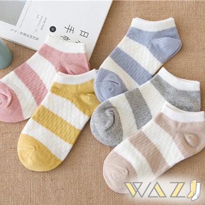 Wazi-小清新條紋棉質淺口短襪 (1組五入)