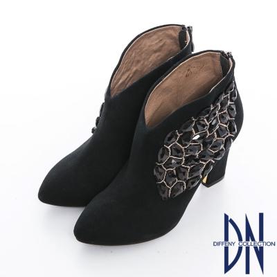 DN 晚宴派對 性感矚目鑲寶石粗跟裸靴 黑