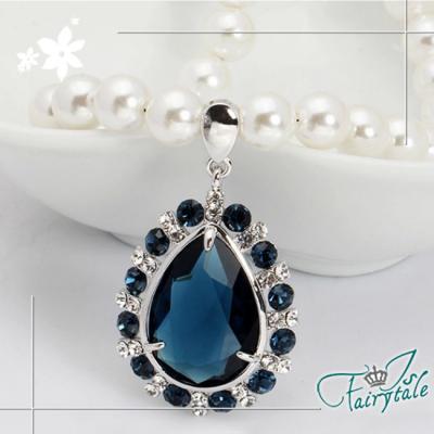 iSFairytale伊飾童話 藍眼淚 藍水晶珍珠串長鍊