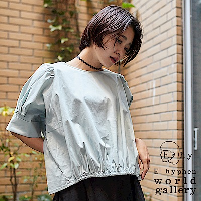 E hyphen mer 5月號揭載款-反摺寬袖雙綁帶棉質上衣