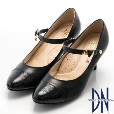 DN-優雅女神-全真皮兩穿搭寶石繫帶瑪麗珍鞋-黑