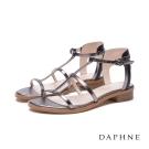 達芙妮DAPHNE 涼鞋-細版帶拼接平底羅馬涼鞋-錫