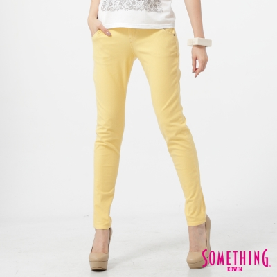 SOMETHING 簡約激瘦窄管彩色牛仔褲-女-銘黃