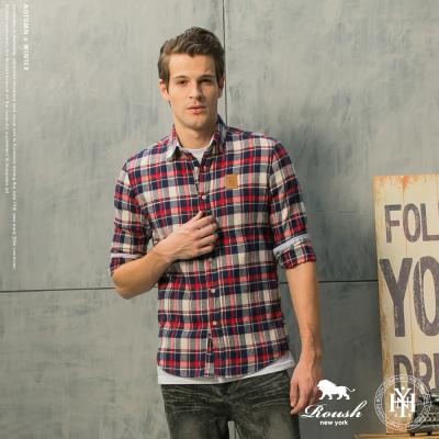 ROUSH (Slim Fit)Q版獅子皮標法蘭絨格紋襯衫 (4色)