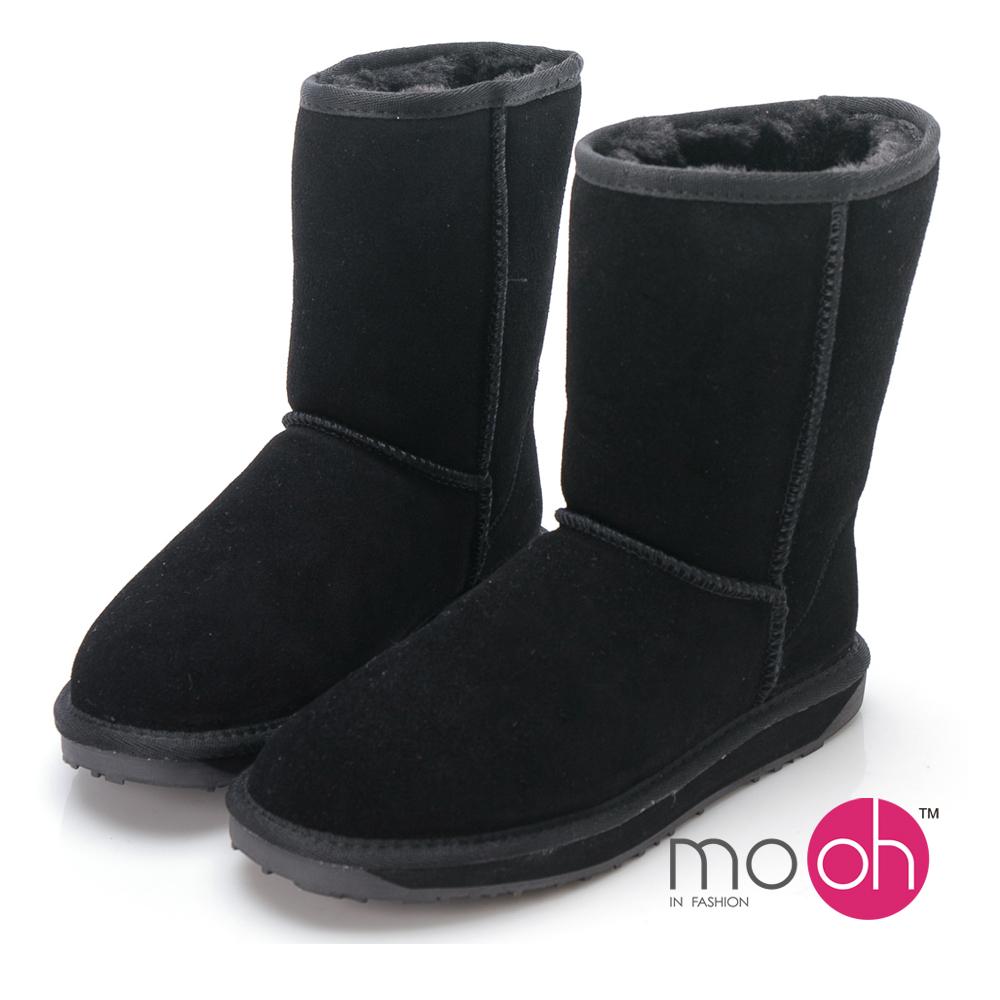 mo.oh  澳洲牛麂皮防潑水中筒雪靴-黑色