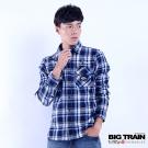 BIG TRAIN 法蘭絨格紋襯衫-男-深藍