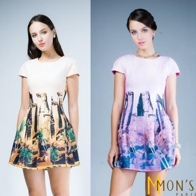 MONS-復古歐風短袖洋裝