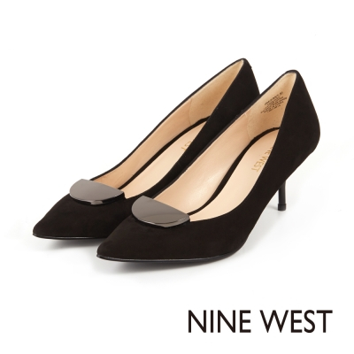 NINE-WEST-半月型金屬細中跟尖頭鞋