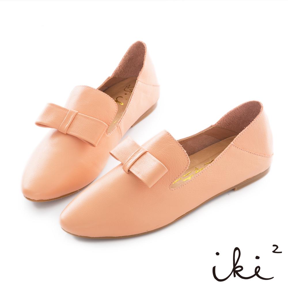 iki2 真皮 質感蝴蝶結樂福鞋-粉