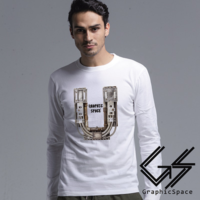 科技感U型圖案磨毛水洗長袖T恤 (共三色)-GraphicSpace