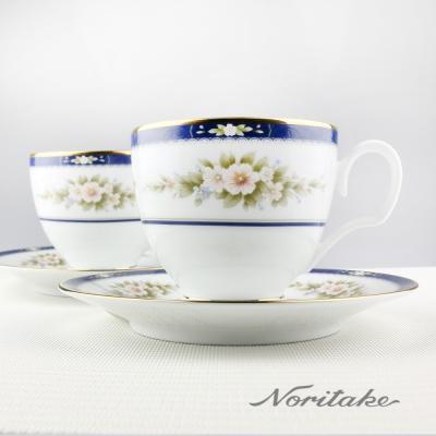 Noritake 英倫花園金邊咖啡對杯