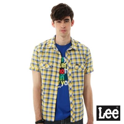 Lee 格紋短袖襯衫- 男款-黃