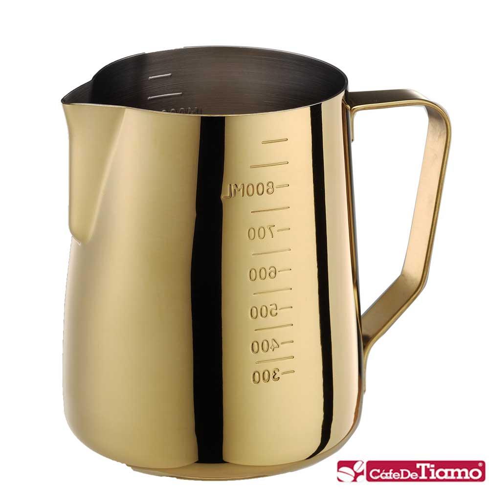 Tiamo 專業內外刻度不鏽鋼拉花杯950cc-鍍鈦金款(HC7091)