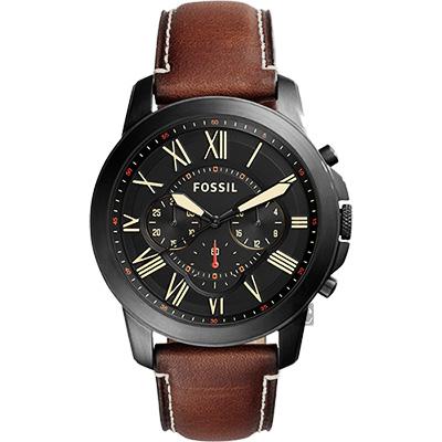 Fossil Grant 雅爵三眼計時腕錶(FS5241)-黑x咖啡/44mm