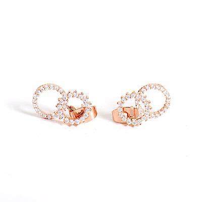 微醺禮物 正韓 鍍K金銀針 圓形鋸齒 鏤空 鋯石 小垂墜 圓形 後耳扣 細緻款 耳針 耳環