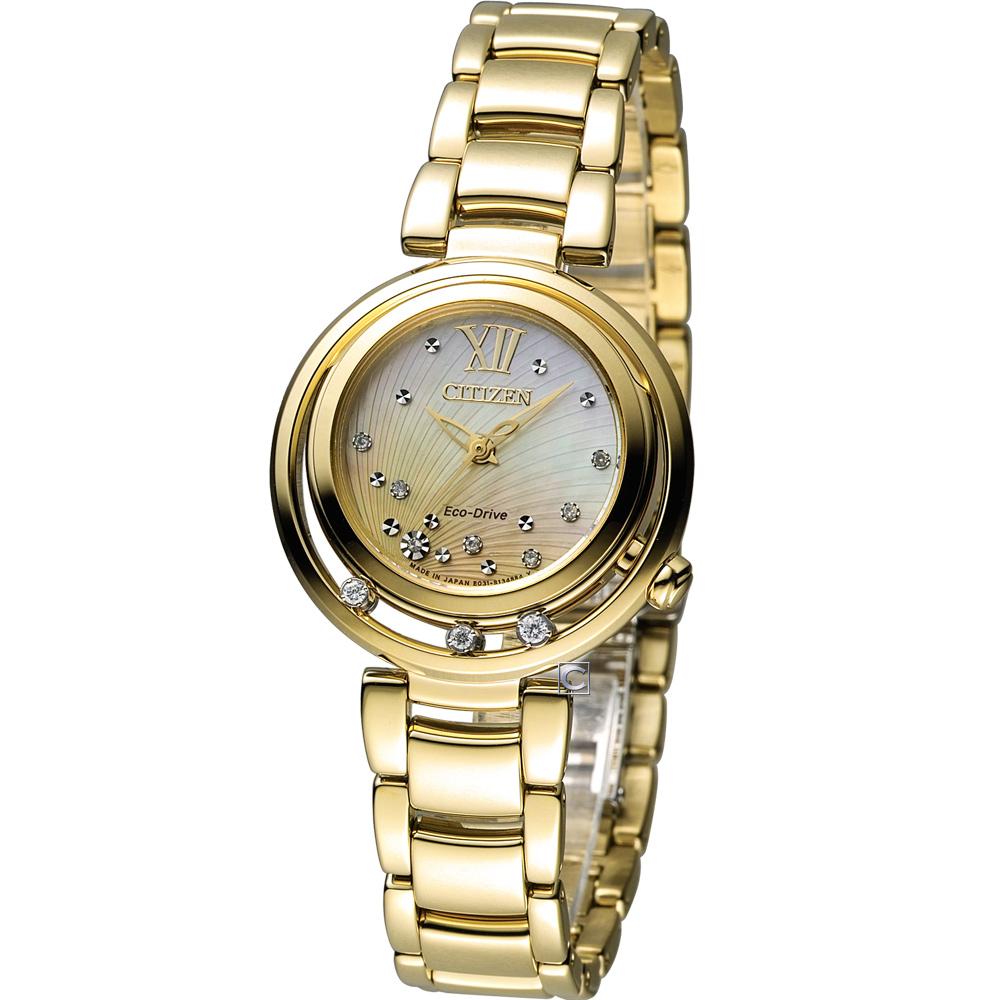 CITIZEN L系列 女神之吻光動能真鑽腕錶(EM0328-57P)-金/30mm @ Y!購物