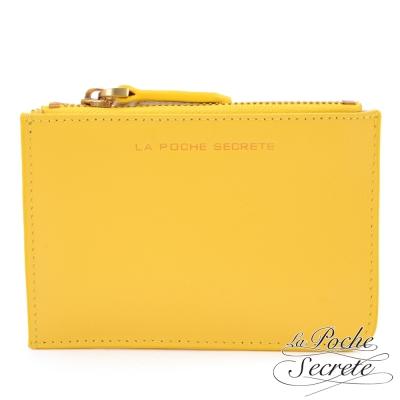 La Poche Secrete真皮 簡約真皮實用卡夾零錢包-亮麗黃