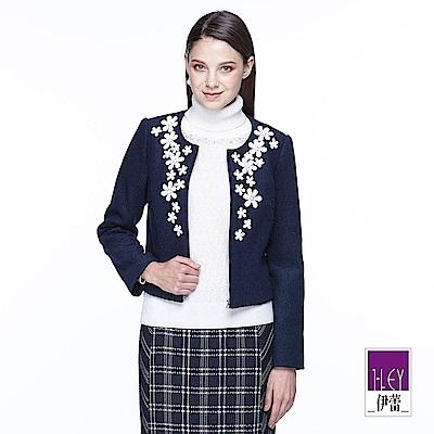 ILEY伊蕾 時尚剪接混羊毛短版外套(藍)