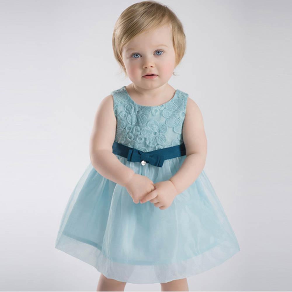 Dave Bella 湖藍紗質刺繡花朵洋裝