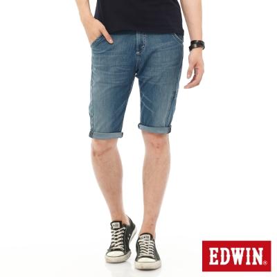 EDWIN 迦績褲JERSEYS單車短褲-男-石洗藍
