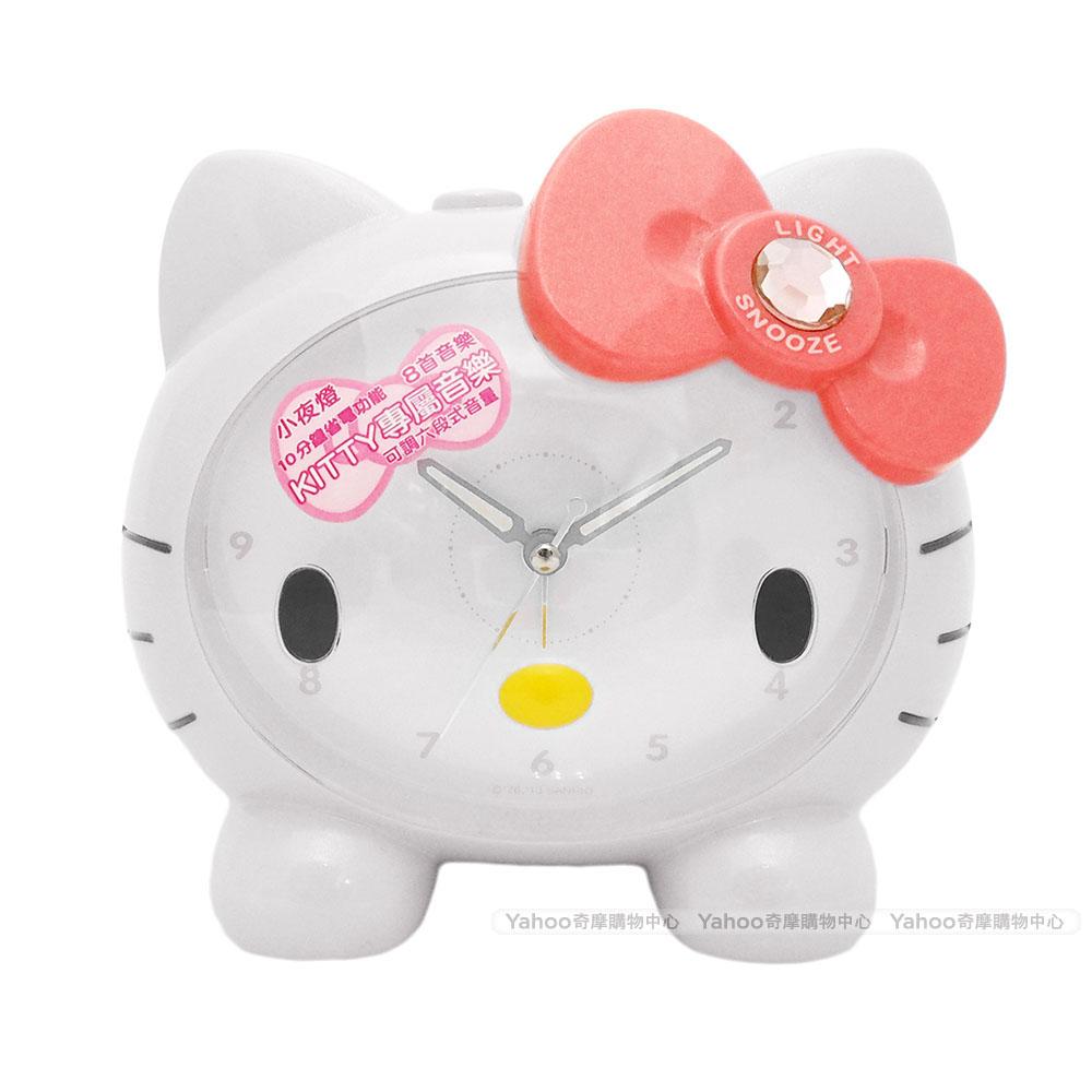Hello Kitty凱蒂貓可愛臉蛋頭型夜光音樂鬧鐘經典白JM-E890KT-W