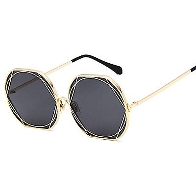 BeLiz 纏綿花藤 圓框鏤空金屬墨鏡 金框黑