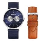 BERING- 雙眼日期顯示系列 藍寶石鏡面 北歐藍x棕錶帶套組40mm