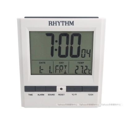 RHYTHM日本麗聲 極簡純白時尚多功能電子鐘/10cm