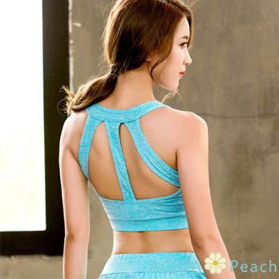 運動內衣 縷空美背防震透氣背心 (藍綠色)-AQUA Peach