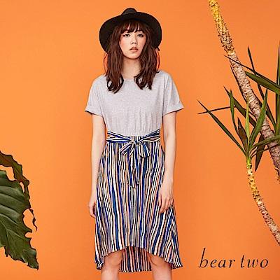 beartwo 熱情古巴條紋拼接造型洋裝(二色)