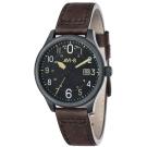 AVI-8 飛行錶 HAWKER HURRICANE 潮流手錶-黑x咖啡色/43mm