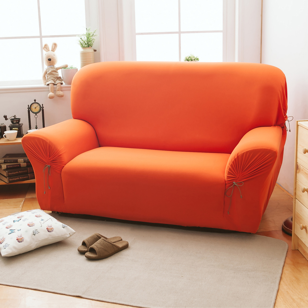 格藍家飾 繽紛樂彈性沙發套3人-南瓜橘