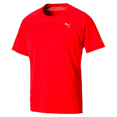 PUMA-男性慢跑系列SPEED短袖T恤-火紅-歐規