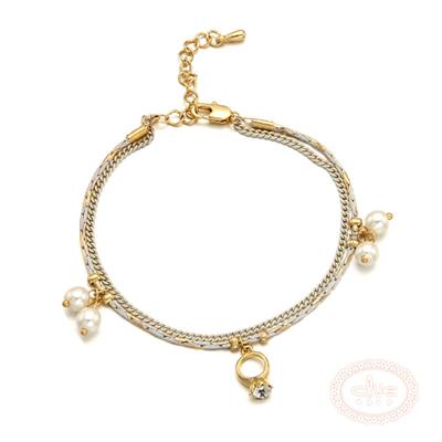 CLUE-韓國進口-鍍K金-水鑽戒指-手鍊