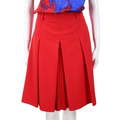 MAX MARA-WEEKEND 紅色拼接設計百褶及膝裙