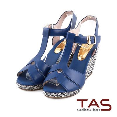 TAS-沁涼度假風雙色編織底T字楔型涼鞋-唯美藍