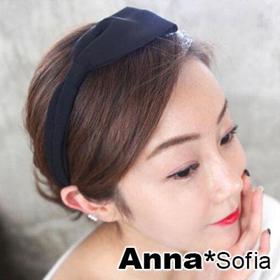 【滿額再7折】AnnaSofia 韓國雪紡單側蝶結 韓式髮箍(酷黑系)