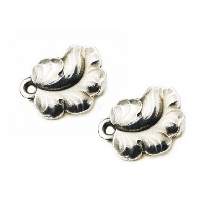 Georg Jensen #50B 純銀葡萄葉 夾式耳環