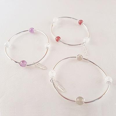 Hera 赫拉 925純銀天然月光草莓晶薰衣草紫水晶手鍊-3色