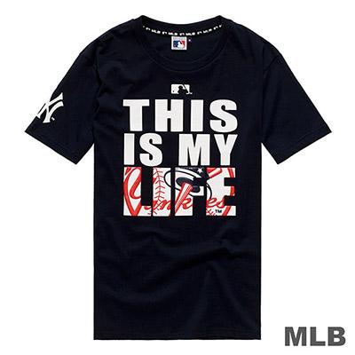 MLB-紐約洋基隊立體LOGO印花短T-深藍 (男)