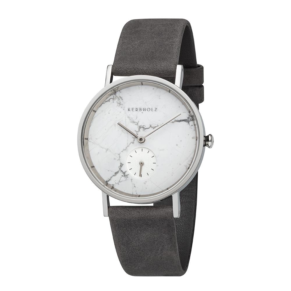 KERBHOLZ 原木手錶 FRIDA - 大理石白/35mm