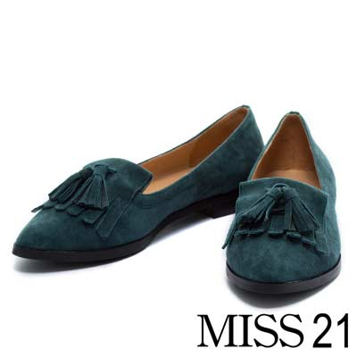 樂福鞋MISS 21復古風尚流蘇羊麂皮平底尖頭樂福鞋-墨綠