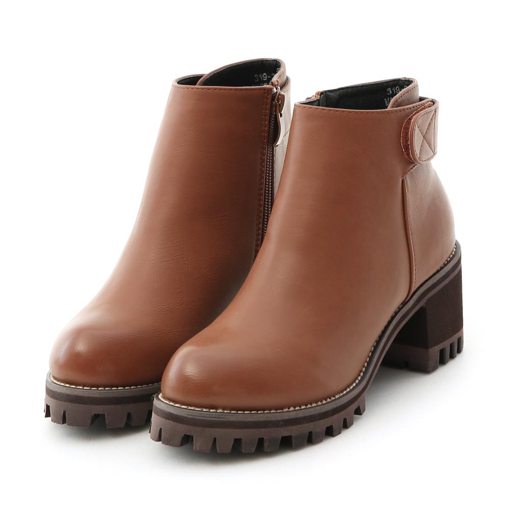 D+AF 時尚關鍵.簡約魔鬼氈高跟厚底短靴*棕