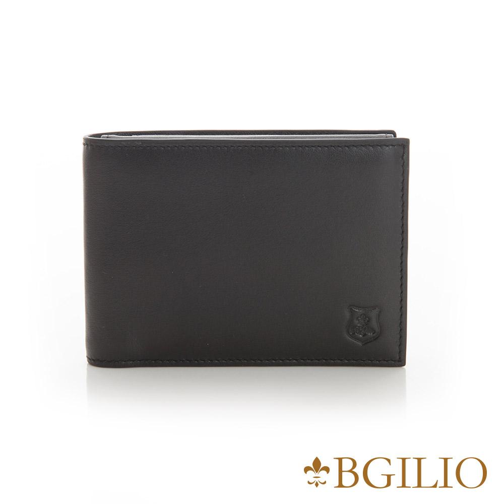 義大利BGilio - NAPPA軟牛皮時尚簡約短夾-黑色 1605.304B-05