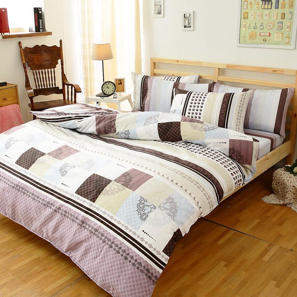【FOCA-靈動風情】四件式100%精梳純棉兩用被床包組-雙人