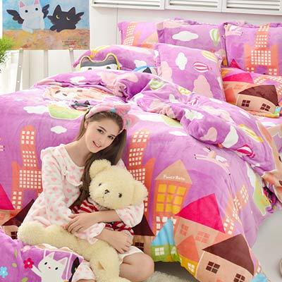Fancy Belle X Malis 夢遊熱氣球 雙人四件式防蹣抗菌雪芙絨被套床包組