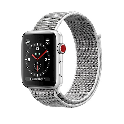 Apple Watch S3 GPS+Cellular 42mm 銀色鋁金屬殼/貝殼白運動錶環
